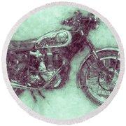 Bsa Gold Star 3 - 1938 - Motorcycle Poster - Automotive Art Round Beach Towel