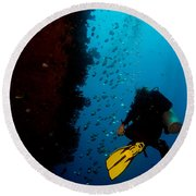 Bubbles And Butterfly Fish Round Beach Towel