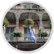 Bubbles Blow From An Ornate Balcony In New Orleans At Mardi Gras Round Beach Towel