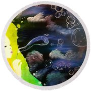 Bubbles Of Life Round Beach Towel