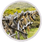 Buck And Rail Fence In The High Country Round Beach Towel