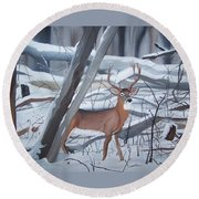 Buck In The Snow Round Beach Towel