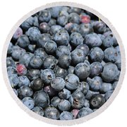 Bucket Of Blueberries Round Beach Towel