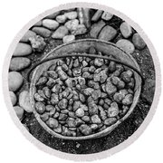 Bucket Of Rocks In Black And White Round Beach Towel