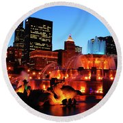 Buckingham Fountain Round Beach Towel