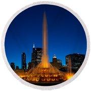 Buckingham Fountain Nightlight Chicago Round Beach Towel