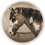 Buckskin War Horse In Sepia Round Beach Towel