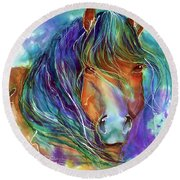 Bucky The Mustang In Watercolor Round Beach Towel