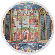 Bucovina Monastery Fresco Round Beach Towel