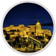 Buda Castle At Night Round Beach Towel