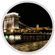 Chain Bridge And  Buda Castle  Round Beach Towel