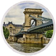 Budapest - Chain Bridge Round Beach Towel