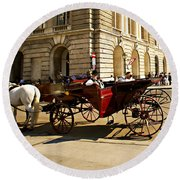 Vienna Buggy Man Round Beach Towel