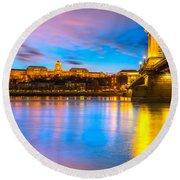 Budapest - Chain Bridge And Buda Castle -  Hungary Round Beach Towel