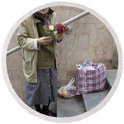 Budapest Flower Woman Round Beach Towel