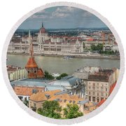 Budapest Overview Round Beach Towel