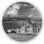 Budapest Parliament From The Chain Bridge Round Beach Towel