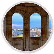 Budapest Parliament From The Fishermans Bastion Round Beach Towel