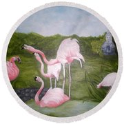 Buddah And The Flamingos Round Beach Towel