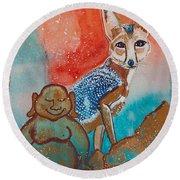 Buddha And The Divine Kit Fox No. 1373 Round Beach Towel