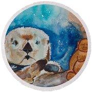 Buddha And The Divine Otter No. 1374 Round Beach Towel