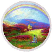 Buddha Chakra Rainbow Meditation Round Beach Towel
