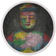 Buddha Encaustic Painting Round Beach Towel
