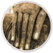 Buddha Hand Round Beach Towel by Adrian Evans