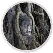 Buddha Head In Tree Round Beach Towel by Adrian Evans