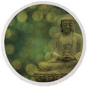 Buddha Light Gold Round Beach Towel