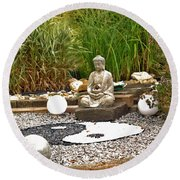 Buddha Looks At Yin And Yang Round Beach Towel