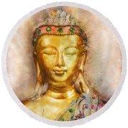 Buddha Peace Love And Light Round Beach Towel