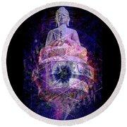 Buddha Spinning In A Merkaba Round Beach Towel