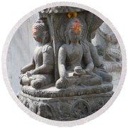 Buddha Statue At Temple - Swayambunat  Round Beach Towel