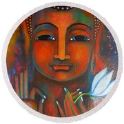 Buddha With A White Lotus In Earthy Tones Round Beach Towel by Prerna Poojara
