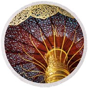 Buddhas Path To Enlightenment, Golden Umbrella Round Beach Towel