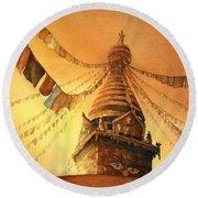 Buddhist Stupa- Nepal Round Beach Towel