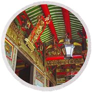 Nord Hoi Temple Ceiling Round Beach Towel