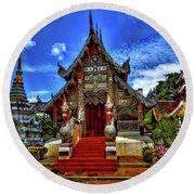 Buddhist Temples In Chiang Mai Round Beach Towel