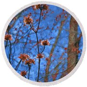Budding Maples Round Beach Towel