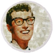 Buddy Holly By Mary Bassett Round Beach Towel