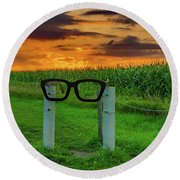 Buddy Holly Glasses Round Beach Towel