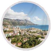 Budva Along The Adriatic Sea In Montenegro Round Beach Towel