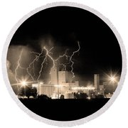 Budweiser Lightning Thunderstorm Moving Out Bw Sepia Crop Round Beach Towel