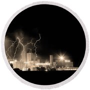 Budweiser Lightning Thunderstorm Moving Out Bw Sepia Round Beach Towel by James BO  Insogna