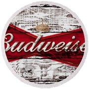 Budweiser Wood Art 5a Round Beach Towel