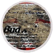 Budweiser Wood Art 5c Round Beach Towel