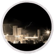Budwesier Brewery Lightning Thunderstorm Image 3918  Bw Sepia Im Round Beach Towel by James BO  Insogna