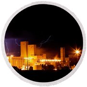 Budwesier Brewery Lightning Thunderstorm Image 3918 Round Beach Towel