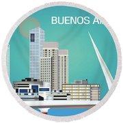 Buenos Aires Argentina Horizontal Skyline - Blue Round Beach Towel